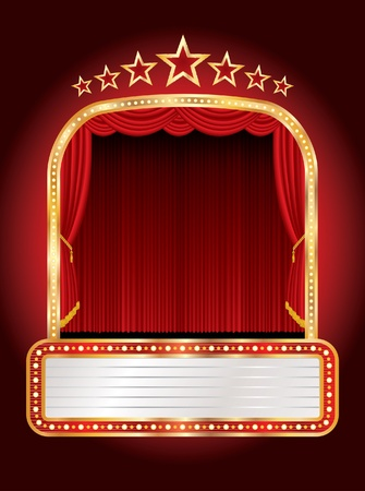 curtain to theater stage: stage with seven stars and blank billboard Illustration