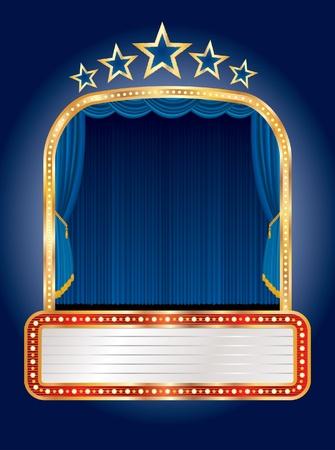 terciopelo azul: etapa de vectores con cinco estrellas y billboard en blanco