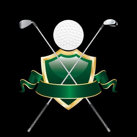 golf iron: vector blank golf award like man Illustration