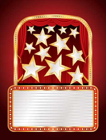 marquee sign: vector stage with stars and billboard