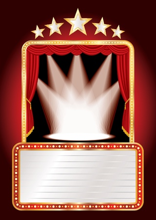 curtain to theater stage: vector stage with five stars and spots and blank billboard