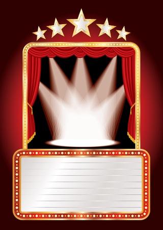 b�hnenvorhang: Vektor-B�hne mit f�nf Sternen und Punkten und blank billboard Illustration