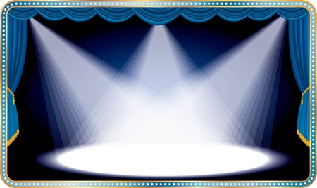 vector blue horizontal stage with three white spot light Vector