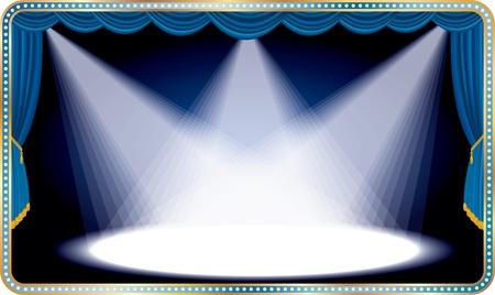 luz focal: vector horizontal de color azul con tres etapas luz de la mancha blanca Vectores