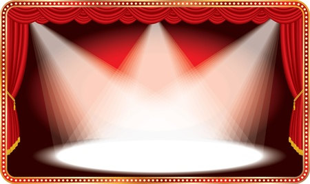 stage lights: vector red horizontal stage with three white spot lights