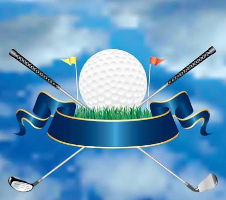 emblem red: vector golf award in the sky