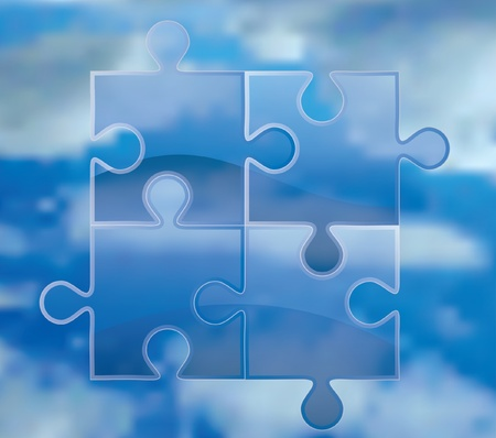 abstract vector composition with transparent puzzle over sky Vector