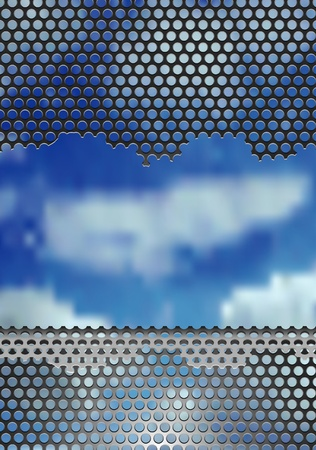 vector background with damaged metal plate over sky Vector