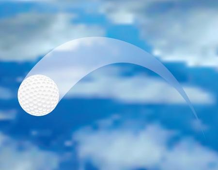 pelota de golf: ilustraci�n vectorial de la pelota de golf del vuelo Vectores