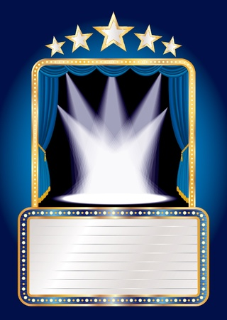 marquee: blue stage with five stars and spots and blank billboard