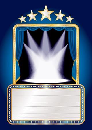 terciopelo azul: escenario azul con cinco estrellas y manchas y cartelera en blanco