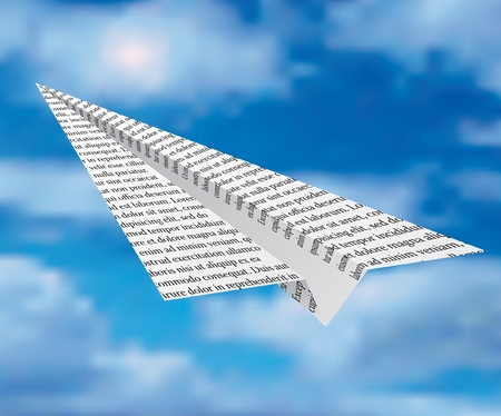 newspaper plane on cloudy sky Illustration