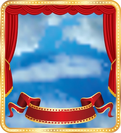 red curtain stage with blank banner and cloudy sky