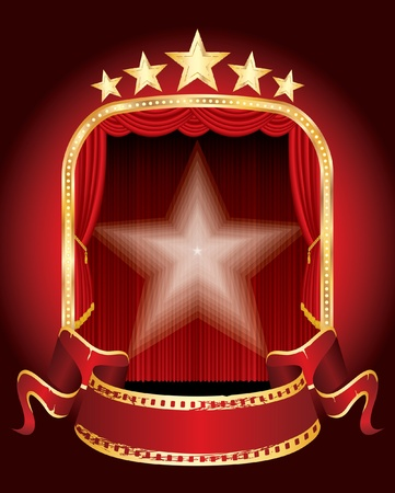 five golden stars stage with blank banner Vector