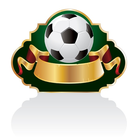 banni�re football: vecteur blanc baroques de football embl�me avec le ballon Illustration