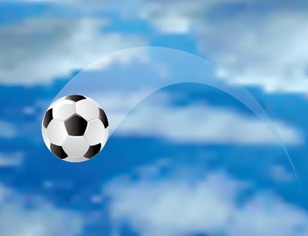 soccer field: vector soccer ball in air