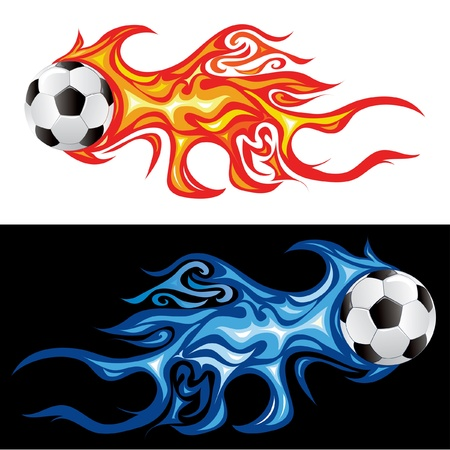 balon soccer: ilustración vectorial de la bola de fuego de fútbol Vectores