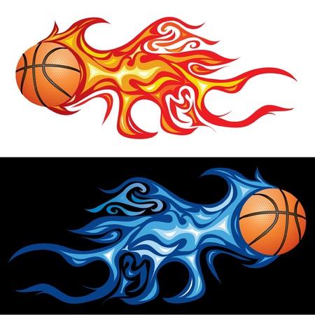 palla di fuoco: illustrazione vettoriale del basket in fiamme