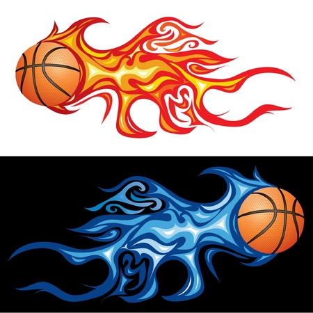 basketball ball on fire: vector illustration of the basketball in flame