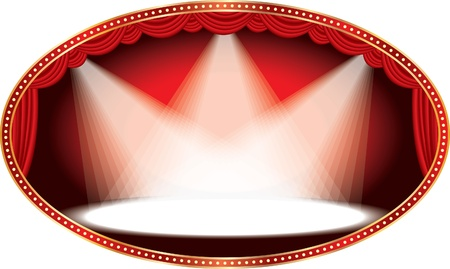 oval:  oval empty stage with red curtain and three spots  Illustration