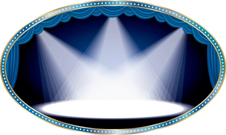 oval empty stage with blue curtain and three spots Stock Vector - 10825263