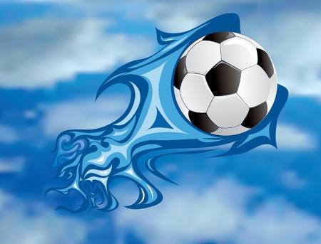 vector illustratie van de voetbal vuurbal aan de hemel
