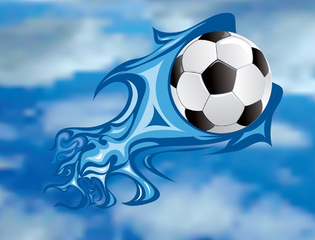 vector illustration of the soccer fireball in sky Illustration