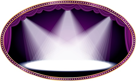 vegas strip: oval empty stage with purple curtain and three spots