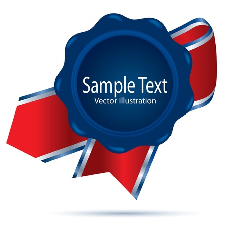 royal mail: illustration of the blue wax with ribbon Illustration