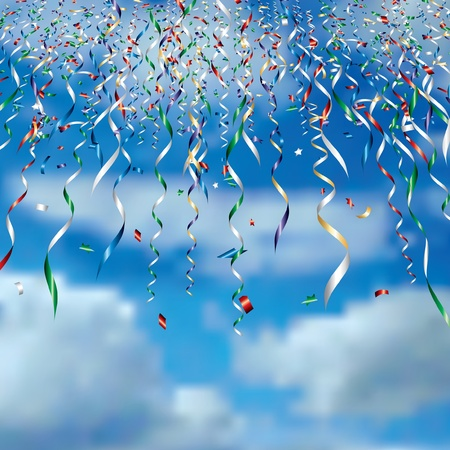 falling confetti in clouds