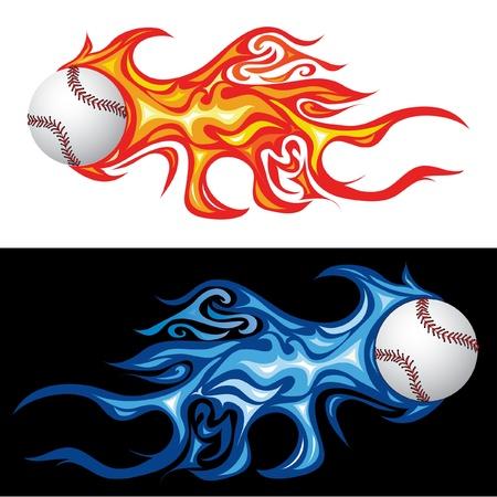 palla di fuoco: illustrazione vettoriale del baseball nel fuoco