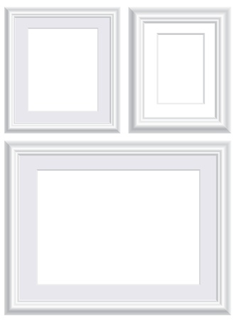 vector illustration of three blank white frames Vector