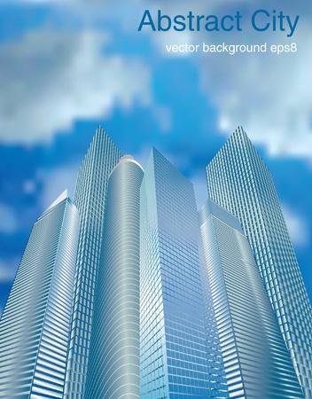 небоскребы: векторные иллюстрации небоскребов в облаках Иллюстрация