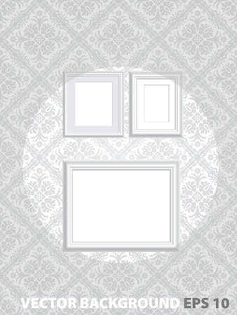 three layered: vector illustration of three blank white frames on baroque wallpaper, layered and fully editable with your images