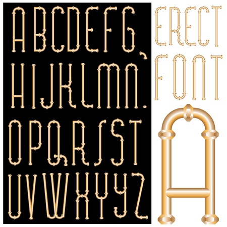 waterworks: vector original font with bronze pipes Illustration