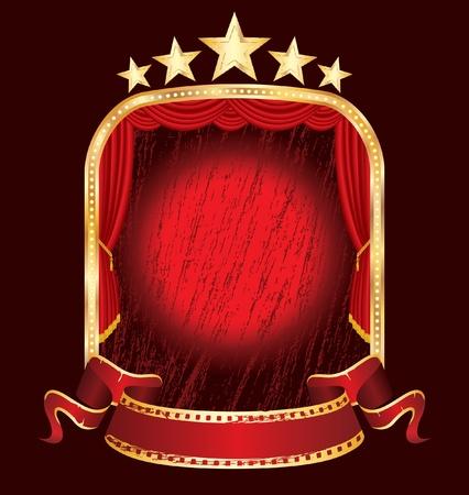 vegas strip: vector red grunge stage