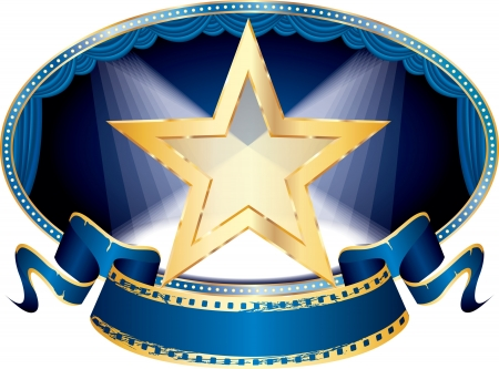 vector oval empty stage with transparent golden star and two spots, eps 10 file Vector