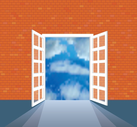 vector illustration of the empty room with view on clouds Vector