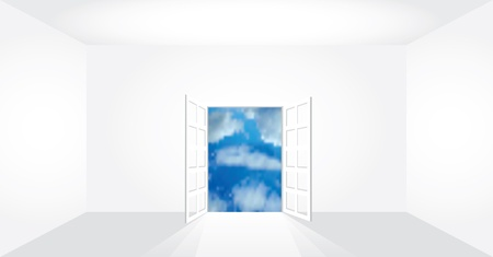 vector illustration of the empty room with view on clouds Stock Vector - 11126238