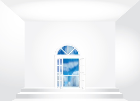 vector empty room with opened doors Vector