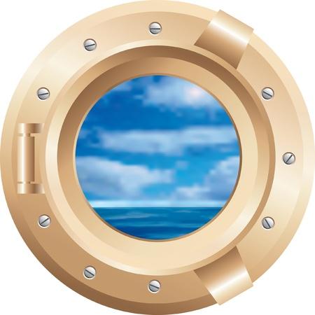 ventana ojo de buey: bronce vector barco ventana
