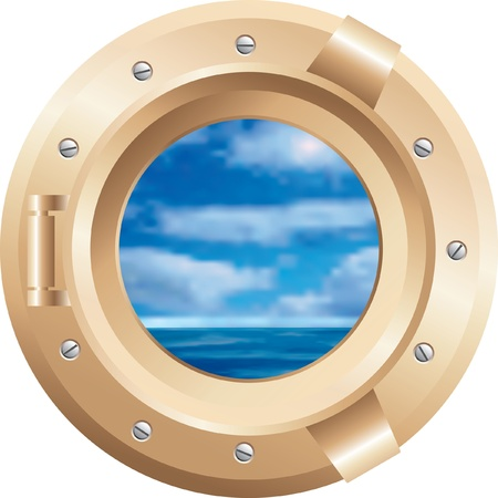 ship porthole: vector brass boat window