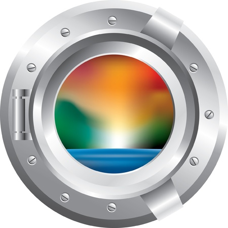 ship porthole: vector yacht window with abstract landscape