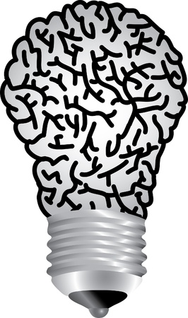 brain storm: vector symbolic illustration with bulb lamp brain Illustration