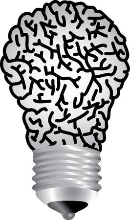 vector symbolische illustratie met bulb lamp hersenen