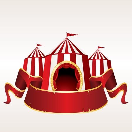circo: ilustración vectorial de una carpa de circo con la bandera roja en blanco
