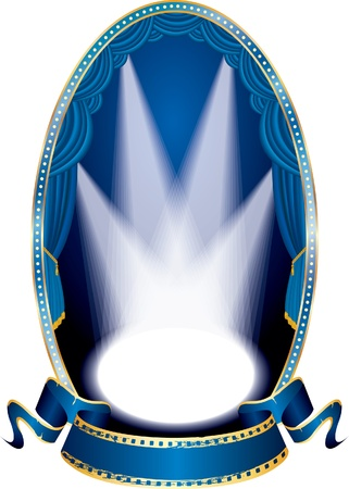 vector vertical oval empty stage with blue curtain and four spots Vector