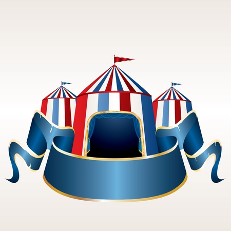 vector Illustration of a circus tent with blank red banner Vector