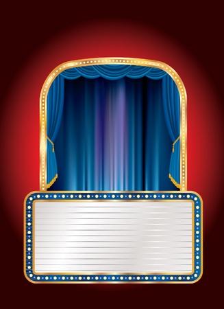 terciopelo azul: vector azul escenario con cartelera en blanco Vectores