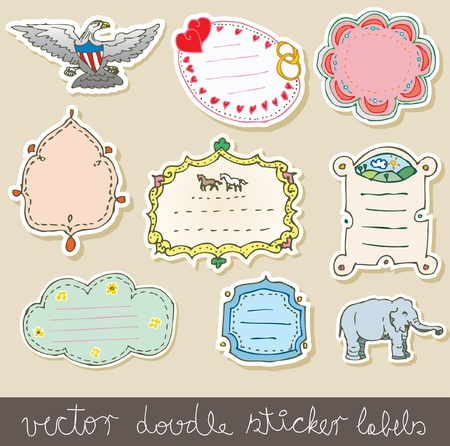 doodle cute frames like stickers Vector